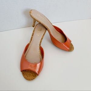 Charles David heels size 7 open toe coral pink
